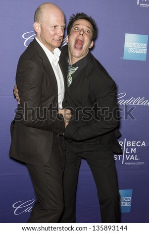 "NEW YORK - APRIL 19: Director Emanuel Hoss-Desmarais and Actor Vincent Hoss-Desmarais attend World Premiere of ""Whitewash"" during the 2013 Tribeca Film Festival  on April 19, 2013 in New York"