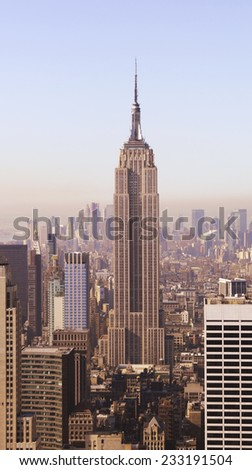 NEW YORK - April 14: Empire State Building on April 14, 2010 in New York, United States. Empire State Building is a skyscraper in New York City, located in the Midtown district of Manhattan. - stock photo