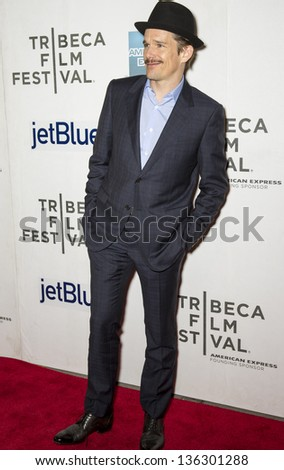 "NEW YORK - APRIL 22: Ethan Hawke attends World Premiere of "" Before Midnight "" during the 2013 Tribeca Film Festival on April 22, 2013 in New York"
