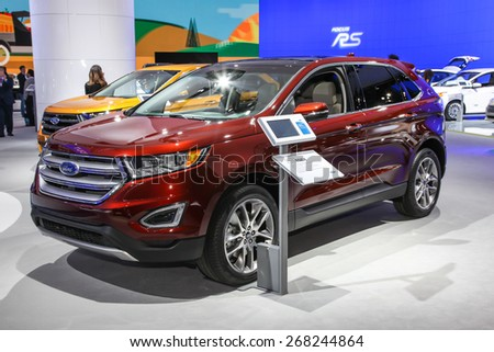 NEW YORK - APRIL 1: Ford exhibit Ford Edge at the 2015 New York International Auto Show during Press day,  public show is running from April 3-12, 2015 in New York, NY. - stock photo