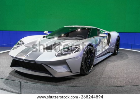 NEW YORK - APRIL 1: Ford exhibit Ford GT at the 2015 New York International Auto Show during Press day,  public show is running from April 3-12, 2015 in New York, NY. - stock photo