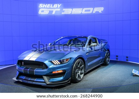 NEW YORK - APRIL 1: Ford exhibit Ford GT350R Mustang at the 2015 New York International Auto Show during Press day,  public show is running from April 3-12, 2015 in New York, NY. - stock photo