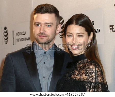 "NEW YORK - APRIL 14, 2016: Justin Timberlake and Jessica Biel attend the premiere of ""The Devil and the Deep Blue Sea"" during the Tribeca Film Festival on April 14, 2016 in New York City."