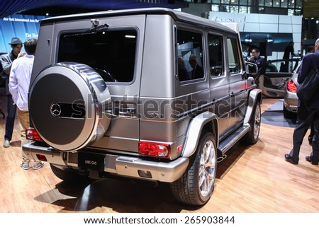 NEW YORK - APRIL 1: Mercedes Benz exhibit  G-65  at the 2015 New York International Auto Show during Press day,  public show is running from April 3-12, 2015 in New York, NY. - stock photo