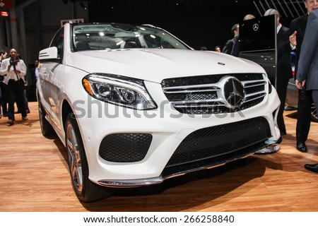 NEW YORK - APRIL 1: Mercedes-Benz  exhibit GLE 550e at the 2015 New York International Auto Show during Press day,  public show is running from April 3-12, 2015 in New York, NY. - stock photo