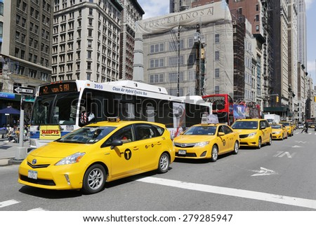 NEW YORK - APRIL 21, 2015: New York City taxis at Madison Square in Manhattan