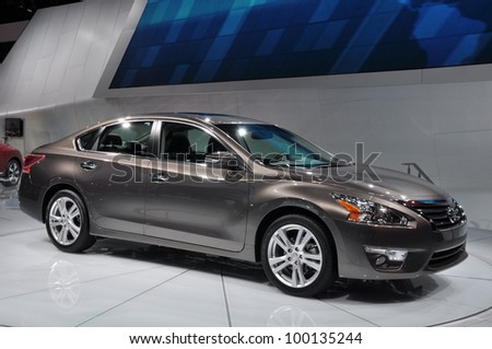 NEW YORK - APRIL 11:Nissan Altima at the 2012 New York International Auto Show running from April 6-15, 2012 in New York, NY. - stock photo