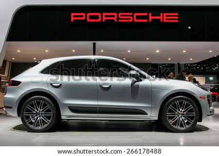 NEW YORK - APRIL 1: Porsche exhibit  Porsche Macan Turbo at the 2015 New York International Auto Show during Press day,  public show is running from April 3-12, 2015 in New York, NY. - stock photo