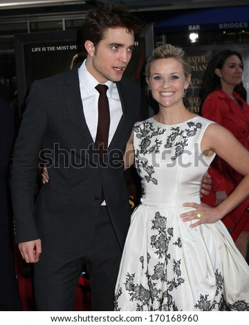 "NEW YORK - APRIL 17: Robert Pattinson and Reese Witherspoon attend the premiere of ""Water For Elephants"" at the Ziegfeld Theater on April 17, 2011 in New York City."