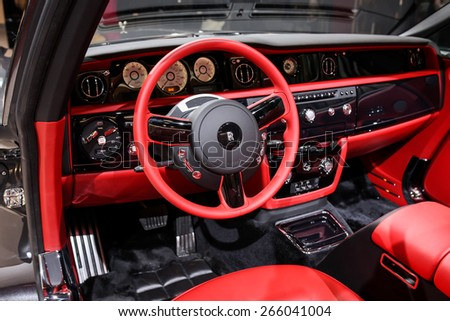 NEW YORK - APRIL 1: Rolls Royce exhibit at the 2015 New York International Auto Show during Press day,  public show is running from April 3-12, 2015 in New York, NY. - stock photo