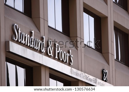 NEW YORK - APRIL 14: Standard & Poor's office building on April 14, 2012 in New York, NY. Standard & Poor's is one of the three major global rating agencies, and was founded in 1860. - stock photo