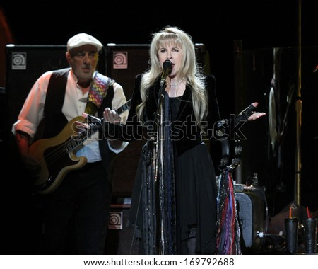 NEW YORK - APRIL 8: Stevie Nicks of Fleetwood Mac performs at Madison Square Garden on April 8, 2013 in New York City.