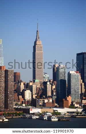 NEW YORK - APRIL 29: The busy Manhattan skyline on April 29, 2012 in New York. First settled in 1624, New York City now has a population of over 8 million people. - stock photo