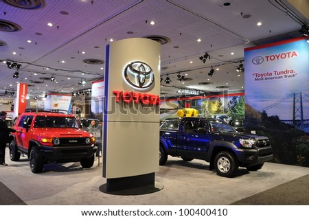 NEW YORK - APRIL 11: Toyota exhibit at the 2012 New York International Auto Show running from April 6-15, 2012 in New York, NY. - stock photo