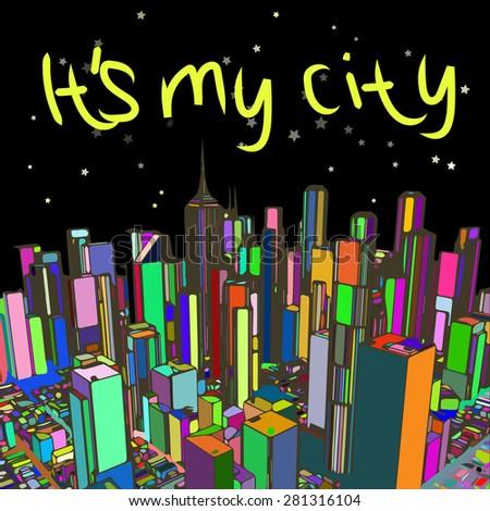 New York at night, illustration, card - stock photo