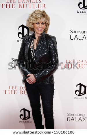 "NEW YORK-AUG 5: Actress Jane Fonda attends the premiere of Lee Daniels' ""The Butler"" at the Ziegfeld Theatre on August 5, 2013 in New York City.  - stock photo"