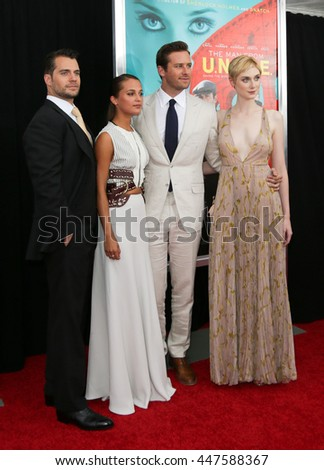 "NEW YORK-AUG 10: (L-R) Actors Henry Cavill, Alicia Vikander, Armie Hammer and Elizabeth Debicki attend ""The Man From U.N.C.L.E."" premiere at the Ziegfeld Theatre on August 10, 2015 in New York City."