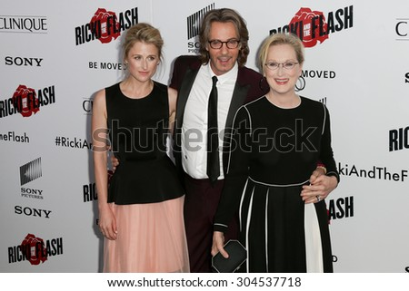 NEW YORK-AUG 3: (L-R) Actors Mamie Gummer, Rick Springfield and Meryl Streep attend the 'Ricki And The Flash' New York premiere at AMC Lincoln Square Theater on August 3, 2015 in New York City. - stock photo