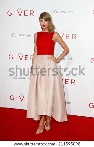 "NEW YORK-AUG 11: Singer Taylor Swift attends the premiere of ""The Giver"" at the Ziegfeld Theatre on August 11, 2014 in New York City. - stock photo"