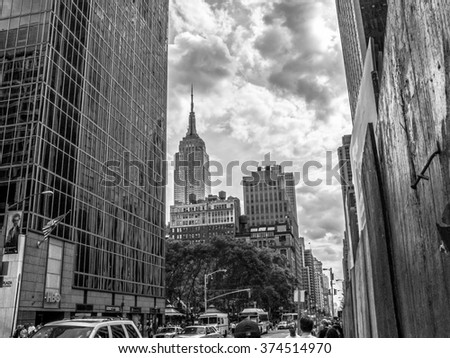 NEW YORK-AUGUST 23 - A black and white street view looking towards the Empire State Building on August 23 2005 in Manhattan. - stock photo
