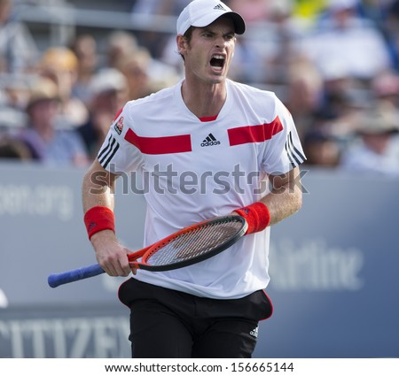 NEW YORK - AUGUST 30: Andy Murray of Great Britain reacts during 2nd round match against Leonardo Mayer of Argentina at 2013 US Open at USTA Center on August 30, 2013 in New York - stock photo