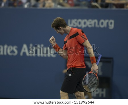 NEW YORK - AUGUST 28: Andy Murray of Great Britain returns ball during 1st round match against Michael Llodra of France at 2013 US Open at USTA Billie Jean King Tennis Center on August 28, 2013 in NYC - stock photo