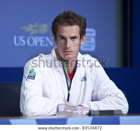 NEW YORK - AUGUST 27: Andy Murray of United Kingdom talks to the media during previews at USTA Billie Jean King National Tennis Center on August 27, 2011 in New York City, NY. - stock photo