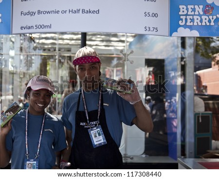 NEW YORK - AUGUST 28: Ben & Jerry ice cream on sale at US Open tennis tournament on August 28, 2012 in Flushing Meadows New York - stock photo