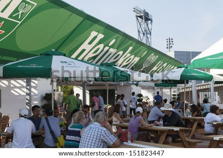 NEW YORK - AUGUST 27 Big Heineken House is built u0026 serves Heineken beer at : heineken tent - memphite.com