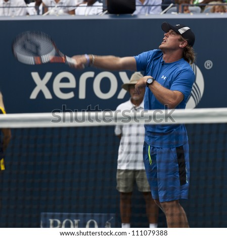 NEW YORK - AUGUST 25: Brad Richards of New York Rangers attends Kids Day at US Open tennis tournament sponsored by Hess on August 25, 2012 in Queens New York