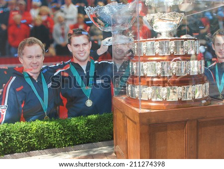 NEW YORK - AUGUST 28: Davis Cup trophy on display at Billie Jean King National Tennis Center on August 28, 2008 in New York. Team USA won Davis Cup 32 times, last time in 2007  - stock photo