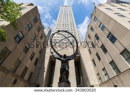 NEW YORK - AUGUST 23: Exterior views of to the Rockefeller center in Midtown Manhattan at the 5th Av on August 23, 2015. Rockefeller Center is a complex of 19 commercial buildings covering 22 acres. - stock photo
