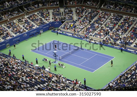 NEW YORK - AUGUST 31, 2015: First round evening match at US Open 2015 at National Tennis Center in New York