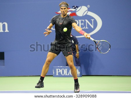 NEW YORK - AUGUST 31, 2015: Fourteen times Grand Slam Champion Rafael Nadal of Spain in action during his opening match at US Open 2015 at Billie Jean King National Tennis Center in New York - stock photo