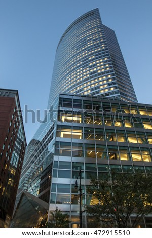New York, August 18: Goldman Sachs main office building at 200 West street in the evening.