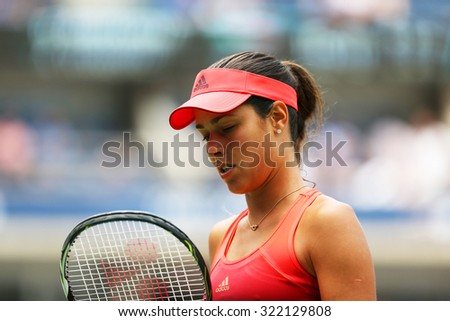 NEW YORK - AUGUST 31, 2015: Grand Slam Champion Ana Ivanovic of Serbia in action during her first round match at US Open 2015 at Billie Jean King National Tennis Center in New York - stock photo