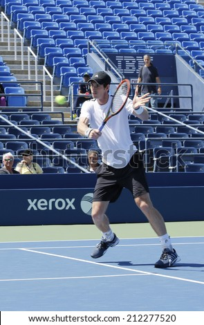 NEW YORK - AUGUST 19: Grand Slam Champion Andy Murray practices for US Open 2014 at Billie Jean King National Tennis Center on August 19 , 2014 in New York - stock photo