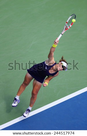 NEW YORK - AUGUST 26, 2014:  Grand Slam Champion Samantha Stosur from Australia during US Open 2014 first round match against Lauren Davis at Billie Jean King National Tennis Center in New York