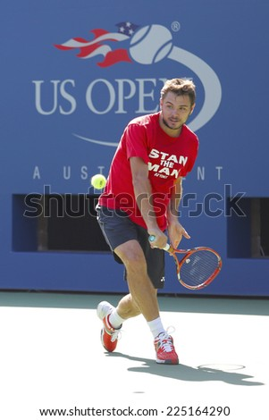 NEW YORK - AUGUST 19: Grand Slam Champion Stanislas Wawrinka practices for US Open 2014 at Billie Jean King National Tennis Center on August 19 , 2014 in New York  - stock photo