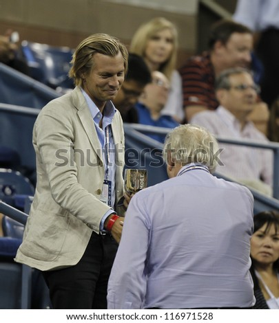 NEW YORK - AUGUST 30: Ludovic du Plessis attends 2nd round match between Roger Federer of Switzerland & Bjorn Phau of Germany at US Open tennis tournament on August 30, 2012 in Flushing Meadows NYC