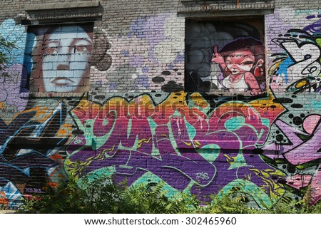 NEW YORK - AUGUST 1, 2015: Mural art in Greenpoint, Brooklyn