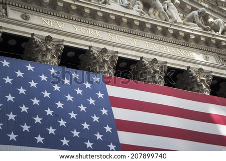 NEW YORK - AUGUST 6: New York Stock Exchange building on August 6, 2012 in New York, NY - stock photo