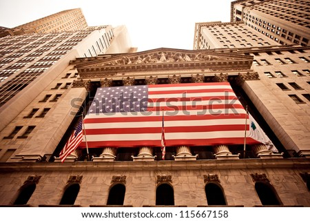 NEW YORK - AUGUST 18 : New York Stock Exchange on August 18, 2012 in New York, NY. With origins as far back as 1792, the NYSE is currently the world's largest exchange by market capitalization. - stock photo