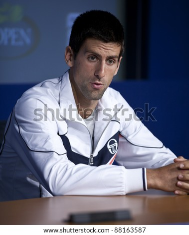 NEW YORK - AUGUST 29: Novak Djokovic attends press conference at USTA Billie Jean King National Tennis Center on August 29, 2011 in NYC - stock photo