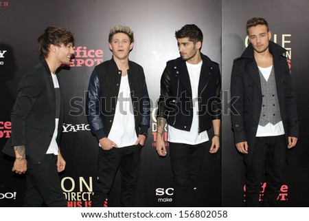 "NEW YORK - AUGUST 26: One Direction attends the premiere of ""One Direction: This Is Us"" at the Ziegfeld Theater on August 26, 2013 in New York City. - stock photo"