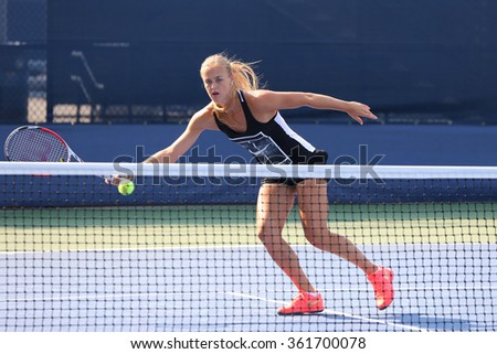 NEW YORK - AUGUST 30, 2015: Professional tennis player Anna  Schmiedlova of Slovakia practices for US Open 2015 at National Tennis Center in New York