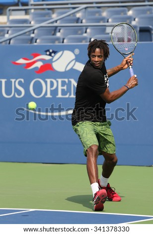 NEW YORK - AUGUST 24, 2015: Professional tennis player Gael Monfis of France practices for US Open 2015 at Billie Jean King National Tennis Center in New York