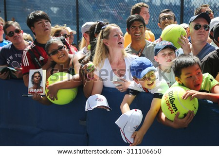 NEW YORK - AUGUST 27, 2015: Rafael Nadal tennis fans waiting for autographs at Billie Jean King National Tennis Center in New York. US Open is a final Grand Slam tournament of the year - stock photo