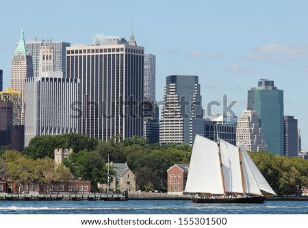 NEW YORK - AUGUST 15: Schooner America 2.0 in New York Harbor on August 15, 2013. It is the is the newest, largest, most elegant vessel designed for Classic Harbor Line - stock photo