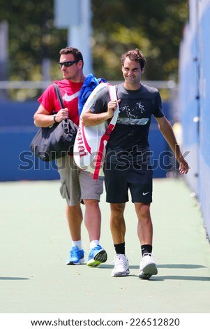 NEW YORK - AUGUST 28: Seventeen times Grand Slam champion Roger Federer after practice for US Open 2014 at Billie Jean King National Tennis Center on August 28, 2014 in New York  - stock photo